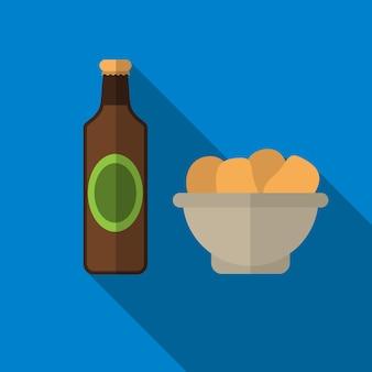 Bottiglia di birra e snack icona piana illustrazione vettoriale isolato segno simbolo