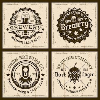 Emblemi, etichette o distintivi di birra e birreria su sfondo grunge