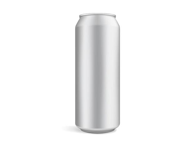 Lattina di birra isolata su sfondo bianco modello vettoriale mock up