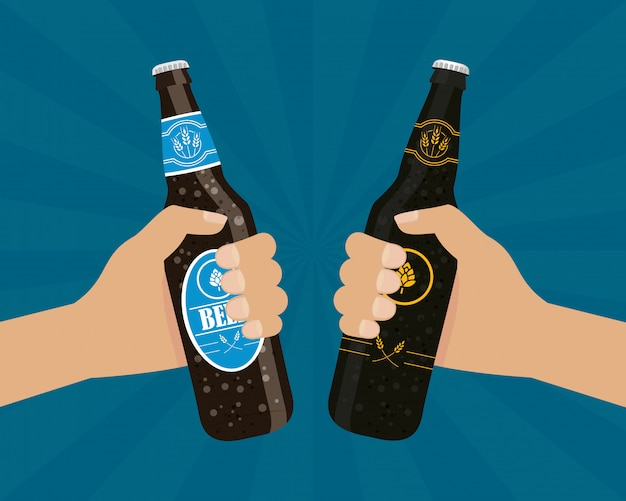 Evento di celebrazione del giorno della birra con le mani e le bottiglie