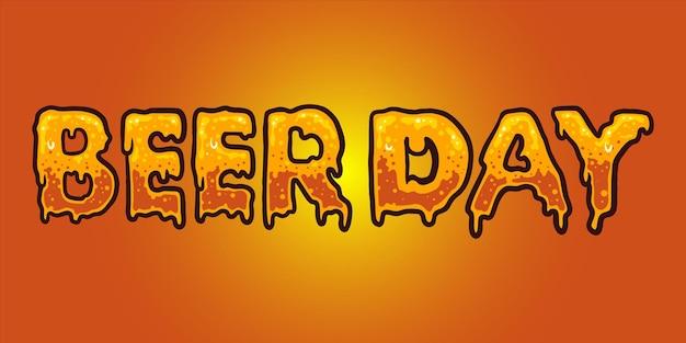 Beer day typeface lettering texture illustrazioni vettoriali per il tuo lavoro logo, t-shirt di merce mascotte, adesivi e disegni di etichette, poster, biglietti di auguri pubblicitari società o marchi.