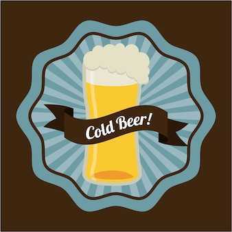 Progettazione di birra su sfondo marrone illustrazione vettoriale Vettore Premium