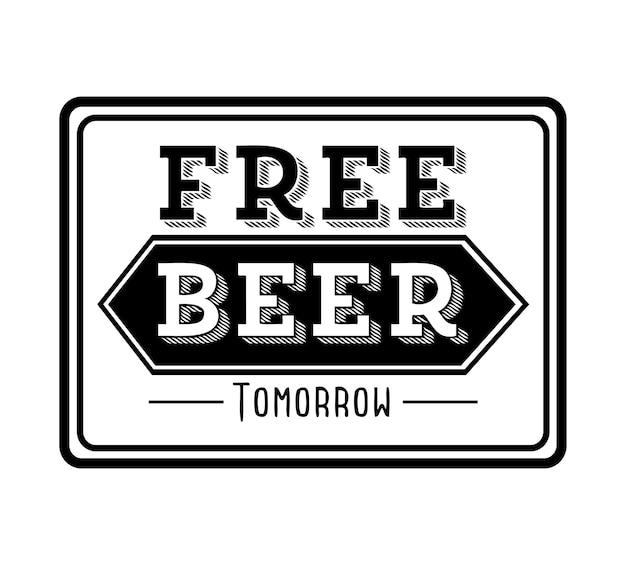Progettazione di birra sopra illustrazione vettoriale sfondo bianco