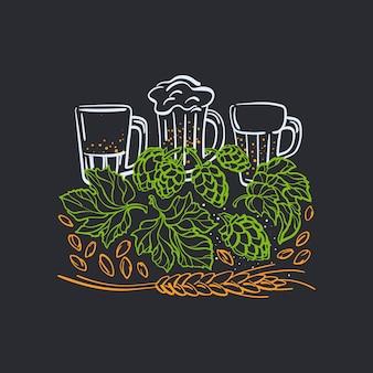 Emblema della birra etichetta disegnata a mano vetro con bevanda foglia di luppolo e spighe di grano illustrazione grafica