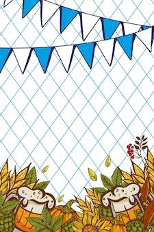 Bicchiere da birra tra foglie di luppolo e cono su uno striscione dell'oktoberfest decorato con i simboli tradizionali di una festa della birra in europa.