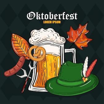 Ciambellina salata con cappello di vetro di birra su design di forchetta e salsiccia, tema festival e celebrazione dell'oktoberfest in germania