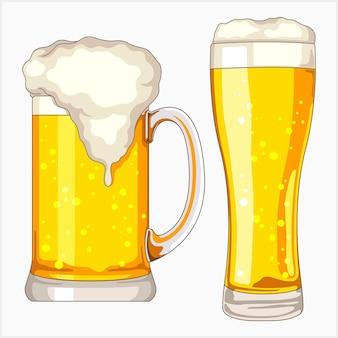 Birra su un set di illustrazioni di vetro
