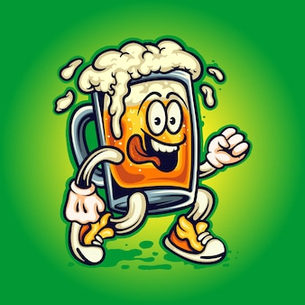 Bicchiere da birra mascotte cartoon cute illustrazioni vettoriali per il tuo lavoro logo, t-shirt di merce mascotte, adesivi e design di etichette, poster, biglietti di auguri che pubblicizzano aziende o marchi.