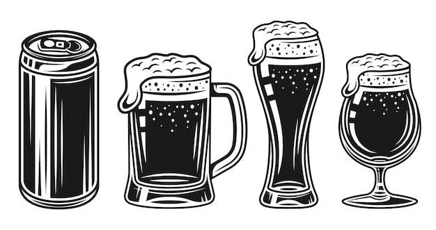 Bicchiere da birra, tazza e lattina insieme di oggetti vintage monocromatici vettoriali isolati su sfondo bianco