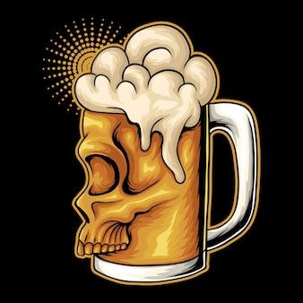 Illustrazione vettoriale di viso teschio di vetro di birra