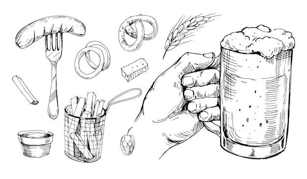 Bicchiere da birra e snack. schizzo disegnato a mano convertito in vettoriale. isolato su sfondo bianco