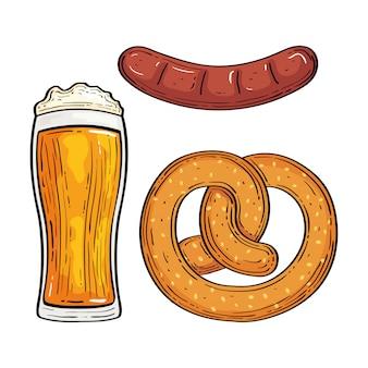 Bicchiere di birra con pretzel e salsiccia