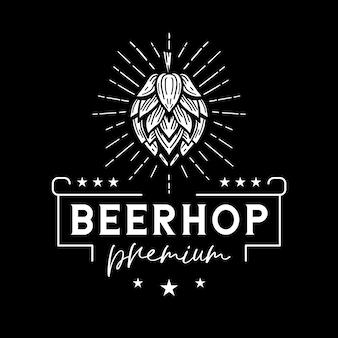 Logo bianco classico di luppolo della birra