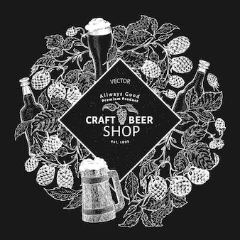 Modello di etichetta di birra luppolo