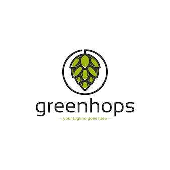 Modello di logo di birra luppolo