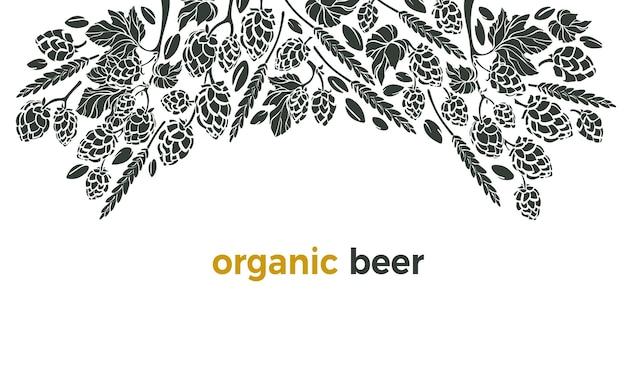 Ingrediente della birra di ramoscello di grano di luppolo modello con bordo illustrazione grafica disegnata a mano