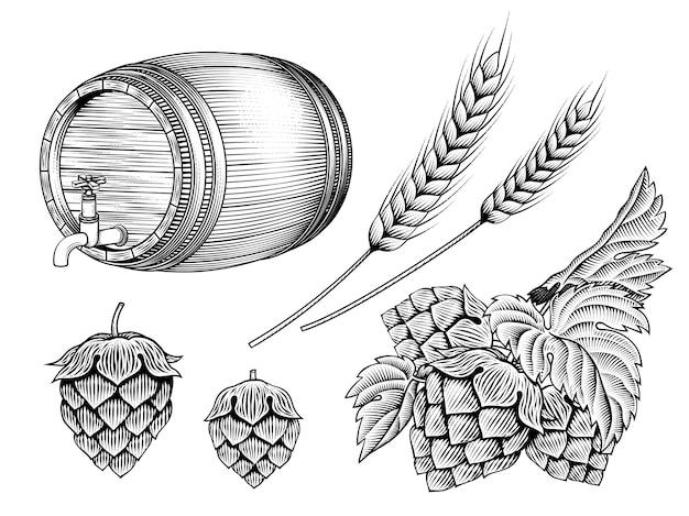 Set di ingredienti di birra, barile, spighe di grano e luppolo in stile di ombreggiatura incisione su sfondo bianco