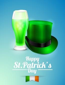 Cappello di birra e leprechaun su sfondo blu