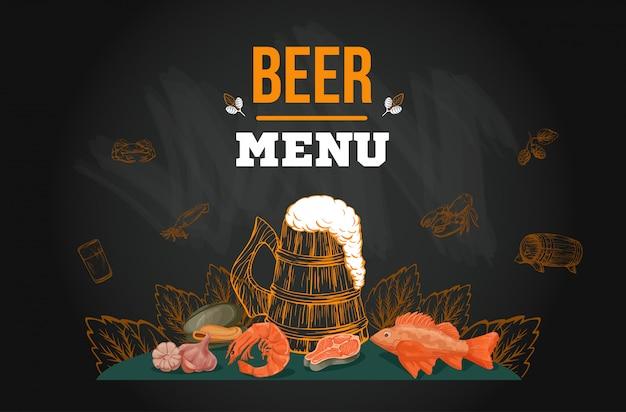 Modello di menu di birra nello stile disegnato a mano di schizzo sulla lavagna