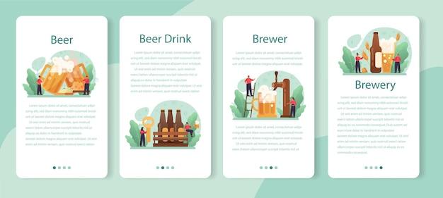 Set di banner per applicazioni mobili di birra. bottiglia di vetro e tazza vintage