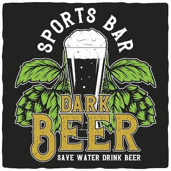 Boccale di birra e luppolo
