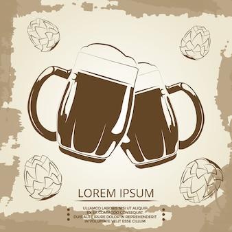 Poster vintage di boccali di birra e luppolo