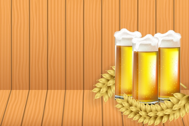 Boccali da birra octoberfest con illustrazione di sfondo struttura di legno