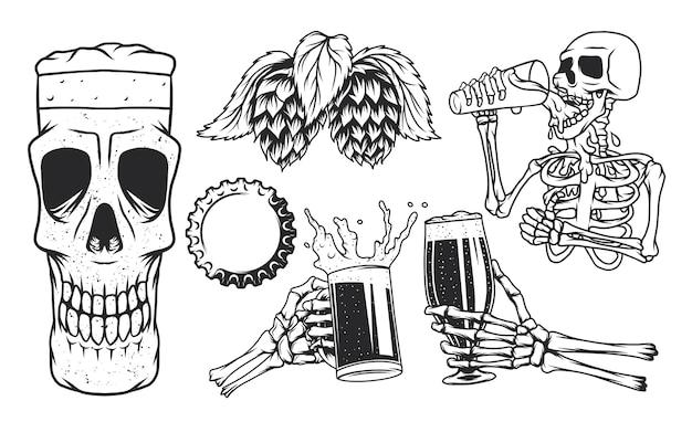 Boccali da birra, scheletro che beve birra, boccale di birra con teschio, tazza e luppolo.