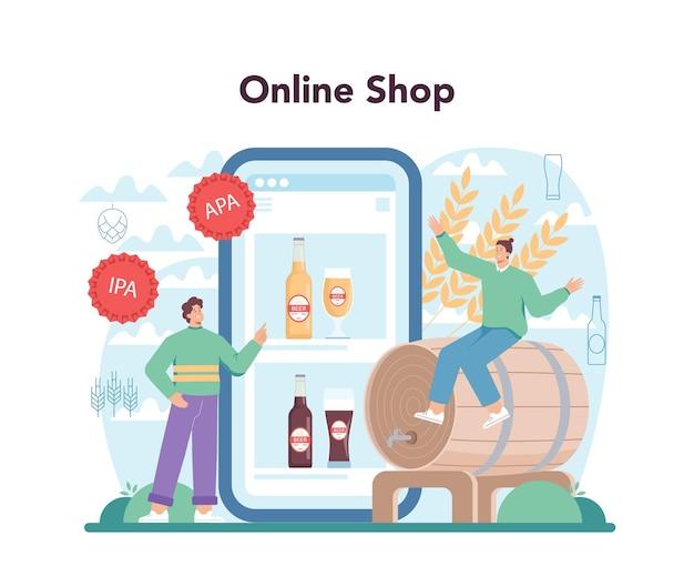 Servizio online di birra o bottiglia di vetro con piattaforma e tazza vintage