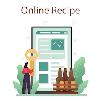 Servizio online di birra o illustrazione della piattaforma