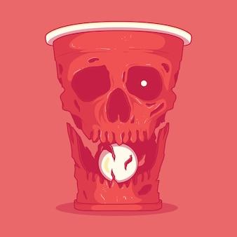 Illustrazione del cranio della tazza del pong della birra. gioco, concetto di design di bevande