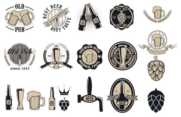 Collezione di etichette, distintivi e icone pub birra