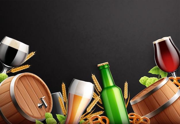 Cornice di sfondo realistico di birra con spazio vuoto circondato da barili di bottiglie di bicchieri di birra e piante di luppolo