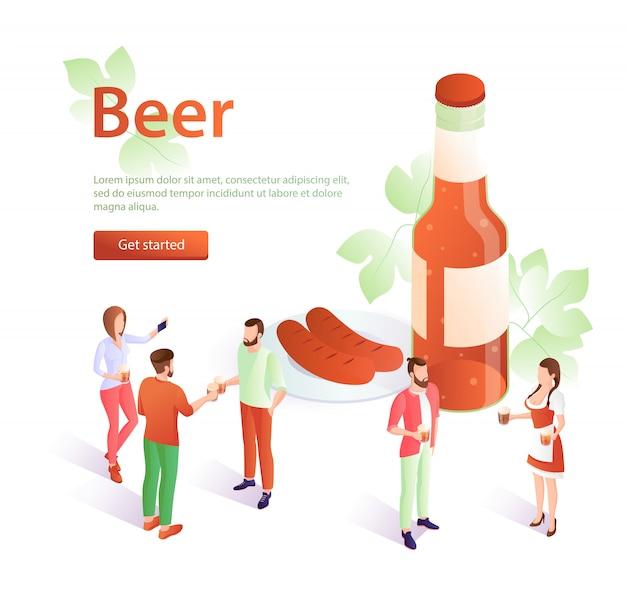 Modello dell'illustrazione delle salsiccie e della birra