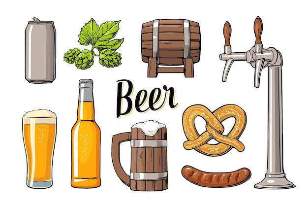 Set birra con rubinetto, classe, lattina, bottiglia, botte, salsiccia, pretzel e luppolo. illustrazione piana di vettore dell'annata per web, poster. isolato su sfondo bianco.