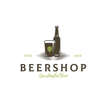Modello di logo del negozio di birra