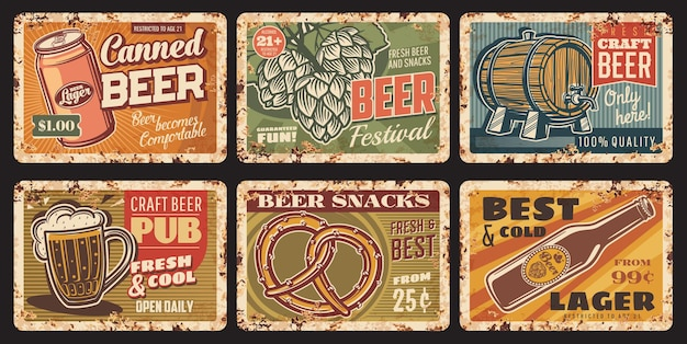 Birra e snack piatti di metallo arrugginito, segni di latta vintage ruggine vettoriale con boccale di birra artigianale, bottiglia, lattina e barile, pianta di luppolo o pretzel. poster retrò per pub o bar, set di carte pubblicitarie ferruginose