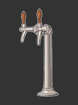 Rubinetto della birra illustrazione piana dell'annata di vettore isolata sul nero