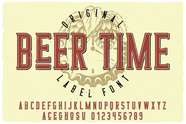 Carattere dell'etichetta beer time