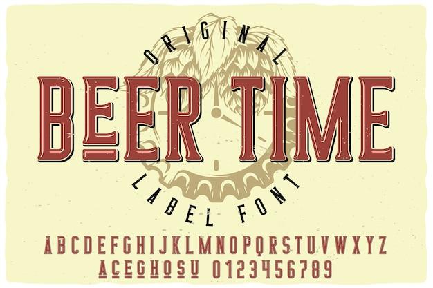 Carattere dell'etichetta beer time Vettore Premium