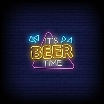 Testo di stile delle insegne al neon di tempo della birra Vettore Premium