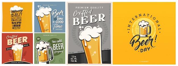 Disegno del manifesto della tipografia della birra