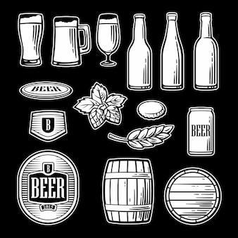 Le icone piane di vettore della birra hanno messo la pinta del barilotto di vetro della bottiglia in bianco e nero vintage illustration