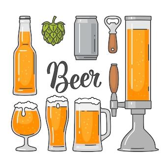 Set di icone piane di vettore di birra - bottiglia, vetro, torre, lattina, luppolo. illustrazione piana di vettore dell'annata. isolato su sfondo bianco. per stemma, web, infografica