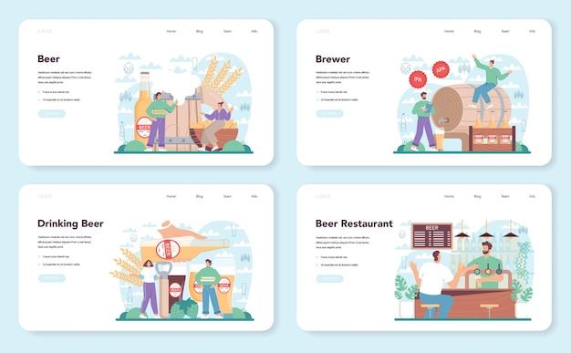 Banner web di birra o set di pagine di destinazione bottiglia di vetro e tazza vintage