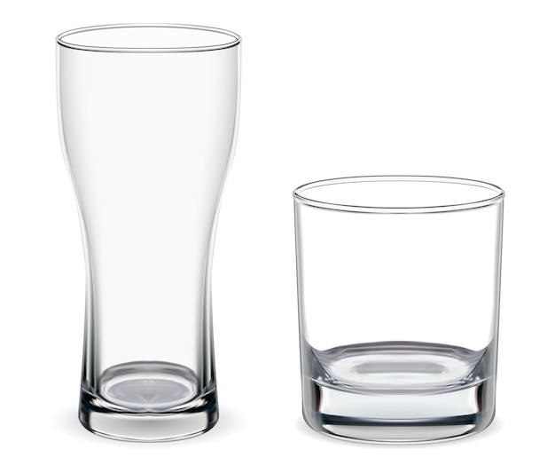 Birra, bicchiere di whisky. mockup di calice isolato. 3d