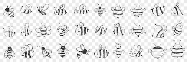 Insieme di doodle di api.
