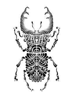 Illustrazione decorativa di vettore dei cervi dello scarabeo. grafica in bianco e nero