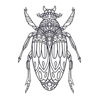 Beetle illustrazione disegnata a mano con stile doodle