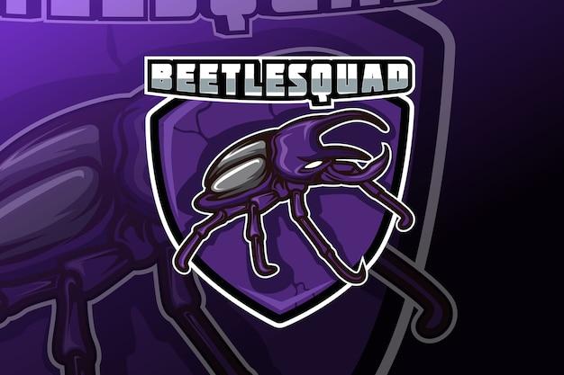 Gioco di esportazione della mascotte di beetle squad per il logo della squadra di giochi sportivi
